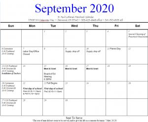 September Preschool Calendar