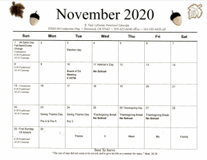 November 2020 Preschool Calendar
